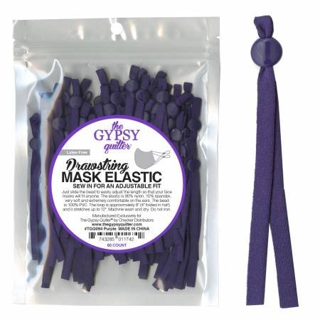 Drawstring Mask Elastic Purple 8 inches, 60 count
