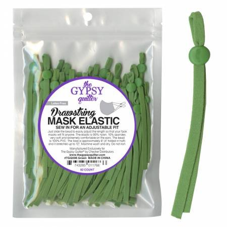 Drawstring Mask Elastic Green 8 inches, 60 count