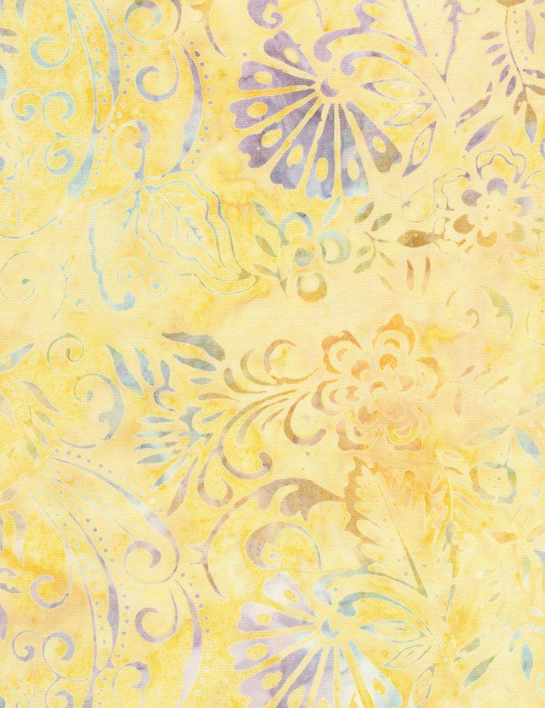 Soleil Canary Flower Scroll Batik b6925-canary