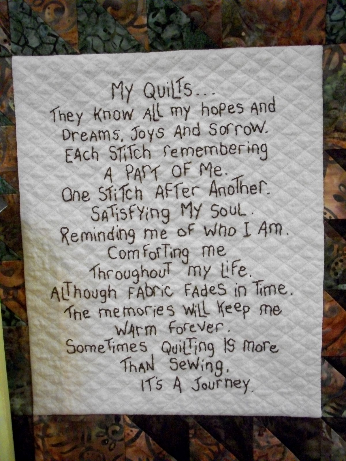 The Good Life-My Quilts - stitchery