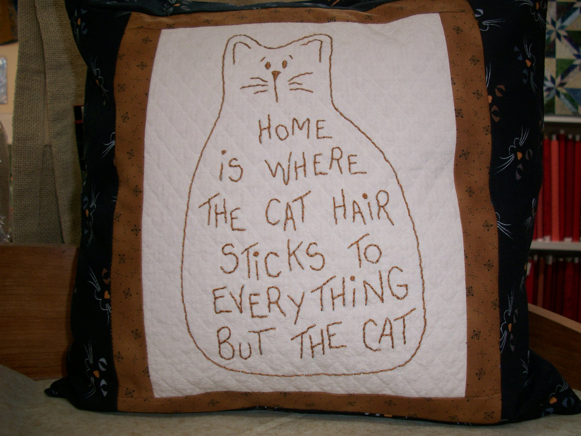 The Good Life-Home is Where the Cat - stitchery