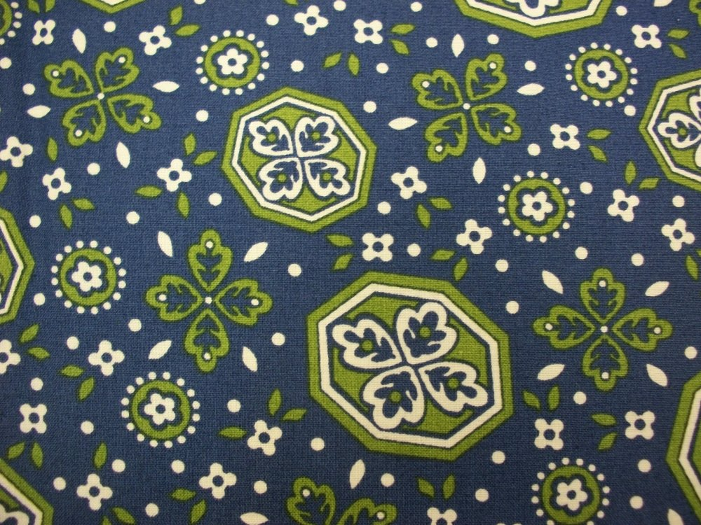 Soho Bandana - Blue bckgrnd w green and white floral design