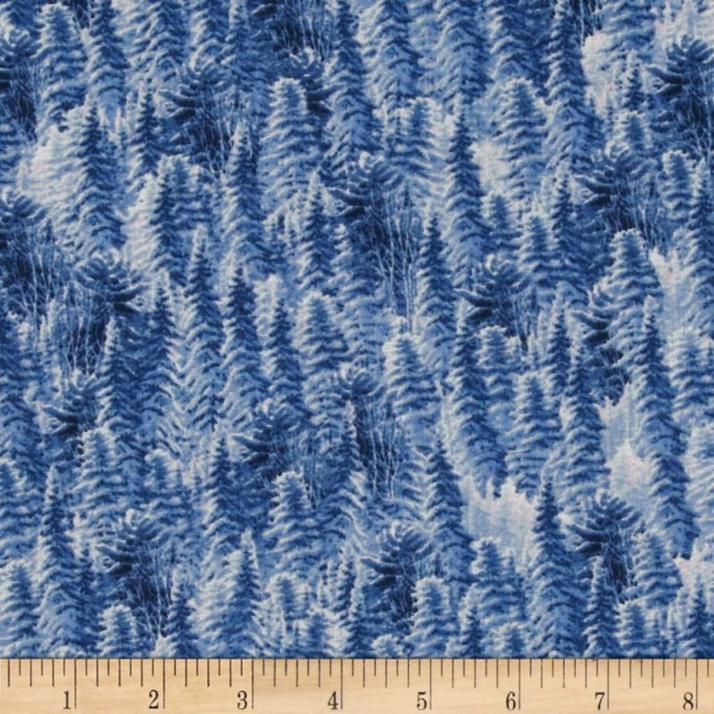 Silent Flight Pine Trees Denim