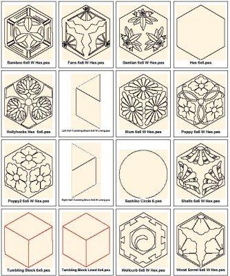 Sashiko Tumbling Block Design Set
