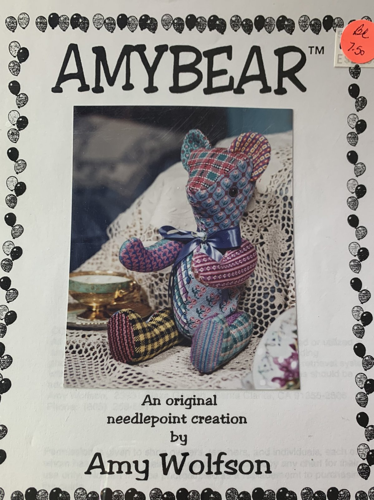 AMYBEAR-ORIGINAL NEEDLEPOINT-BY AMY WOLFSON