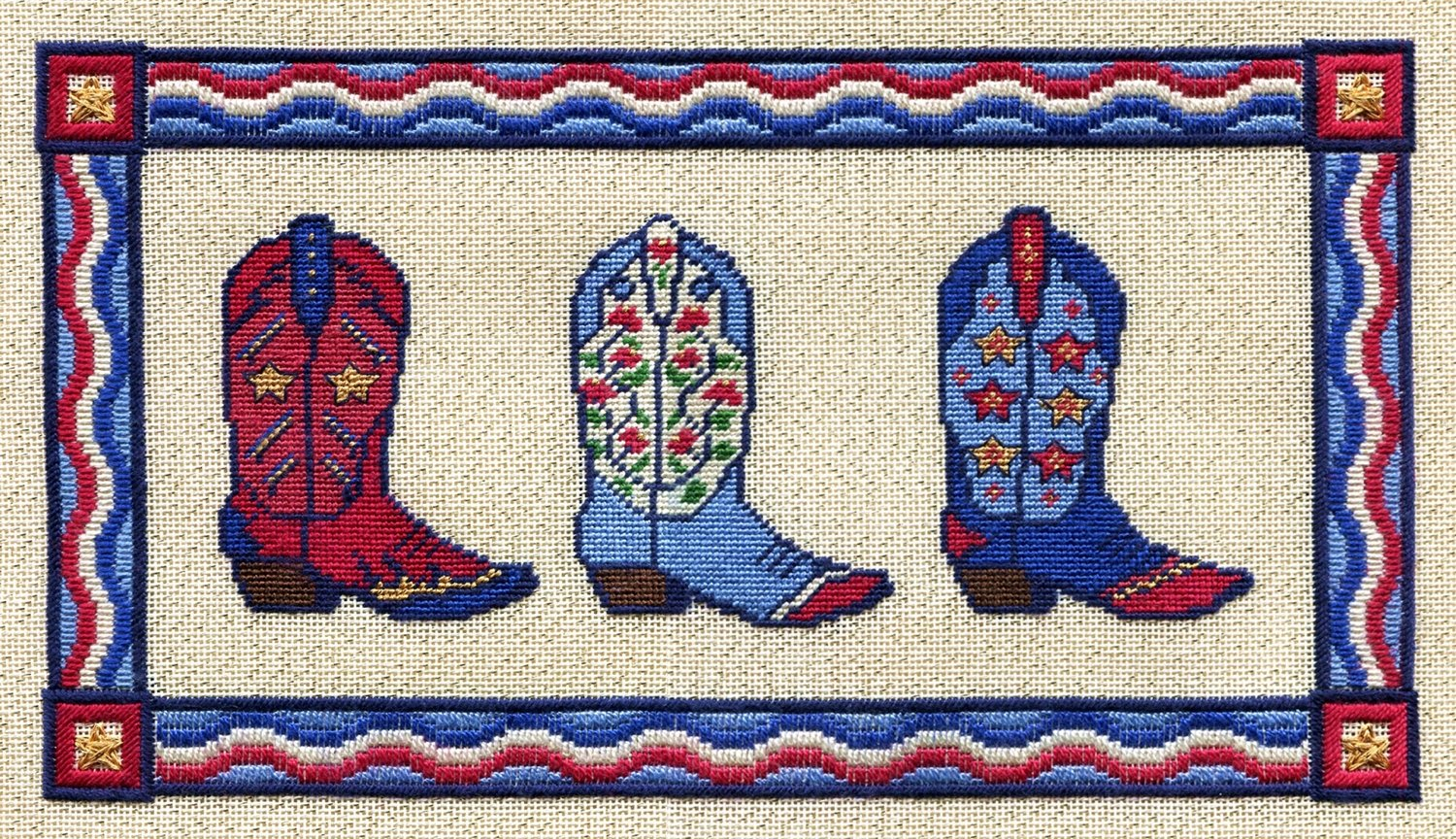WC011-RED WHITE AND BLUE BOOTS