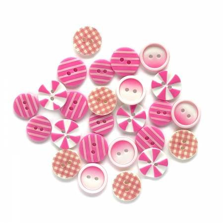 Button Fusion - Pink Patchwork 20 assorted