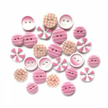 Button Fusion - Tickle Me Pink 20 assorted