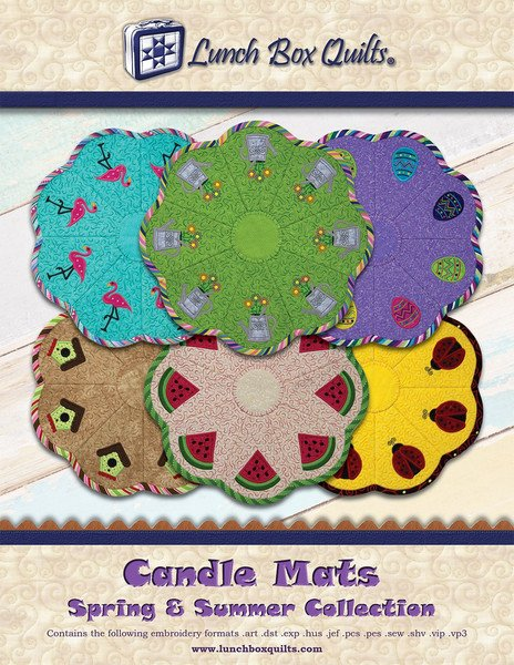 Candle Mats Spring And Summer Applique Machine Embroidery CD