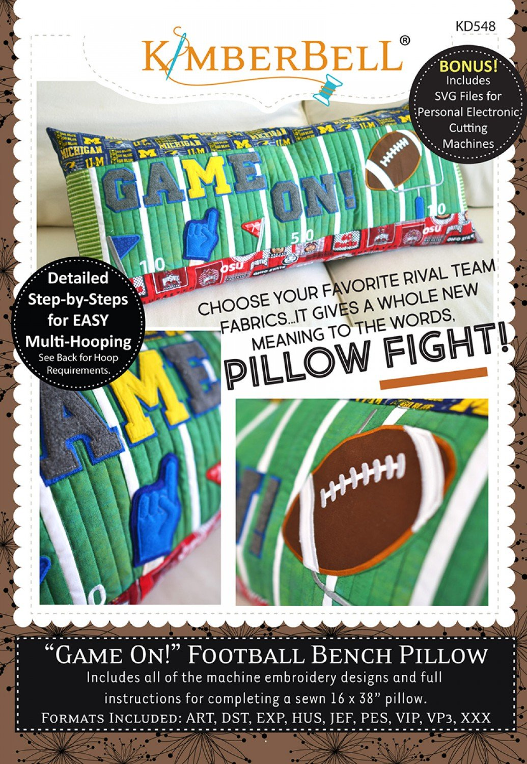 Game On Football Bench Pillow Machine Embroidery