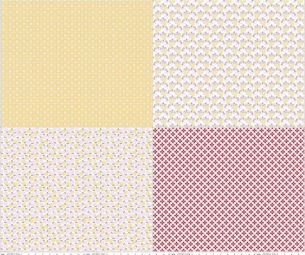 Lori Holt Sew Cherry 2 - FQPs YELLOW PINK