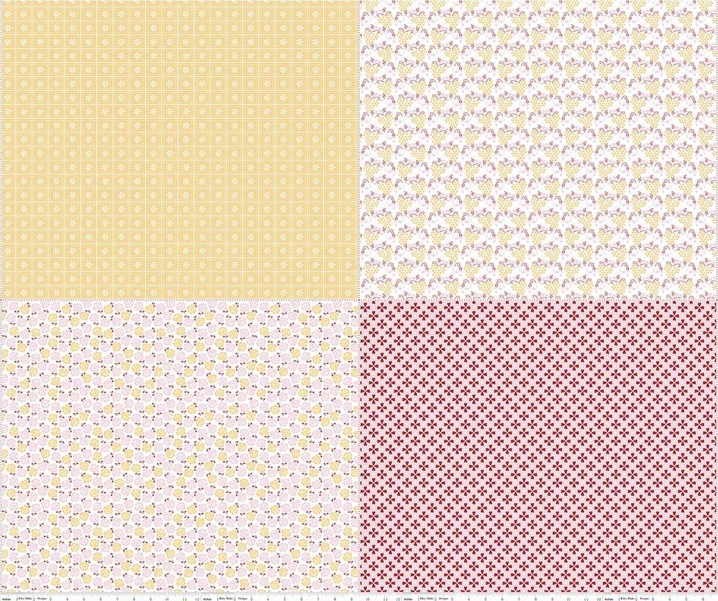 Lori Holt Sew Cherry 2 - FQPs YELLOW PINK