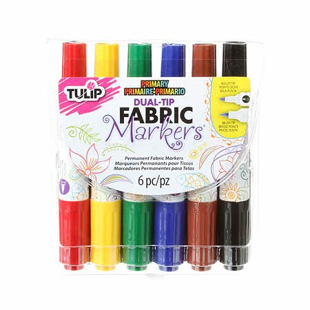Dual Tip Primary 6 Pack Fabric Markers
