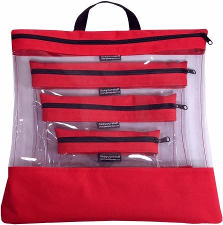 See Your Stuff 4pc Red Bag Set