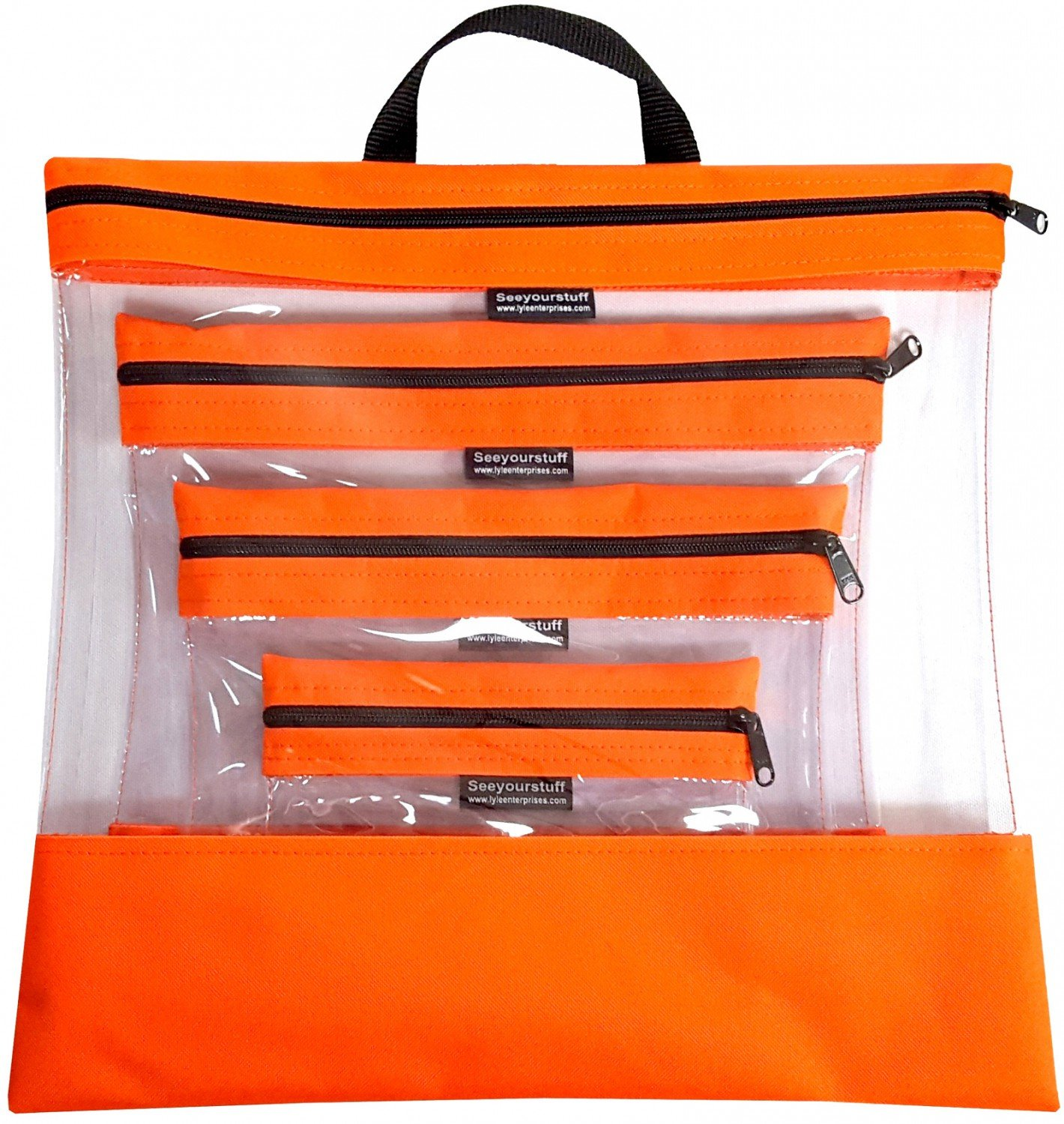 See Your Stuff 4pc Tangerine Bag Set