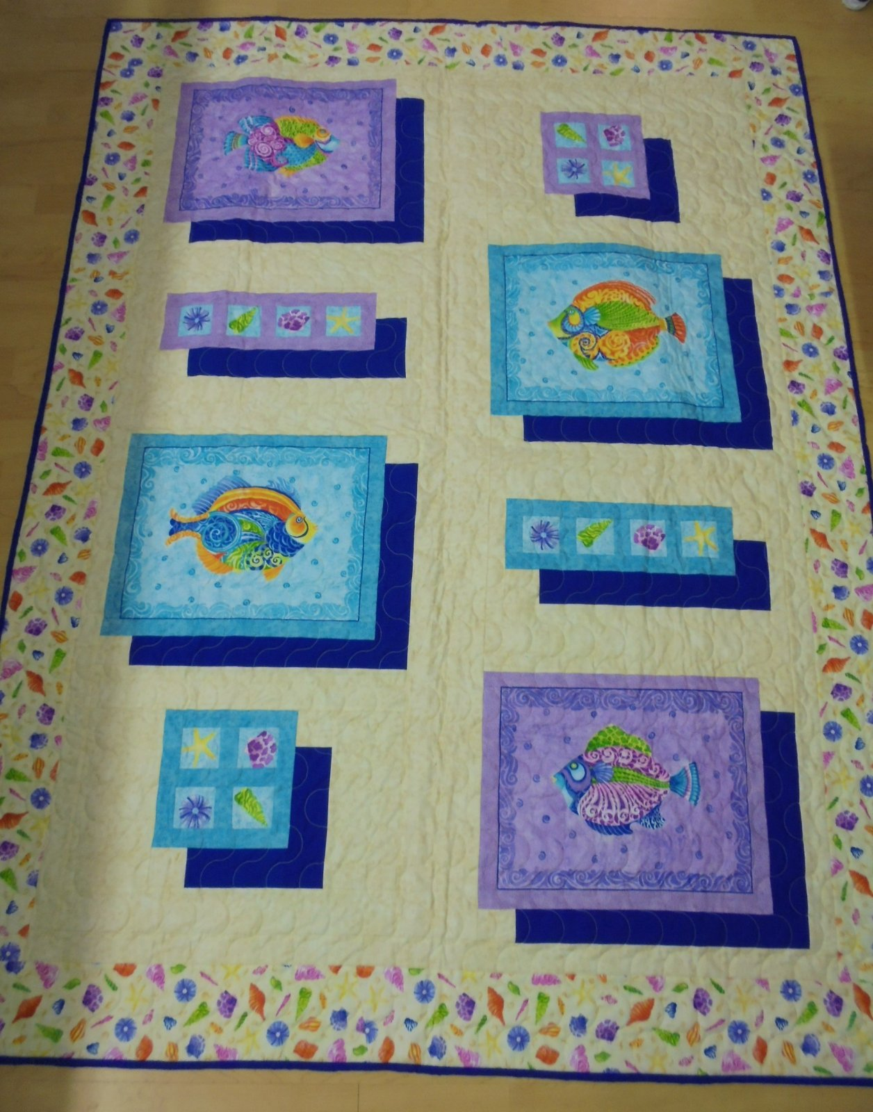 FISH AND SEASHELL QUILT KIT