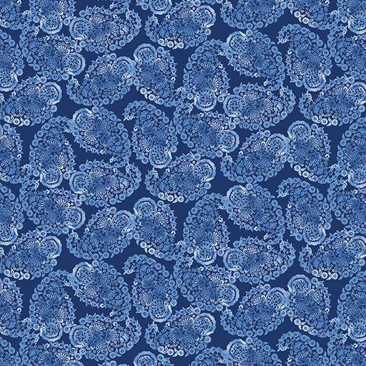 BRITTANY DARK BLUE PAISLEY BY BENARTEX