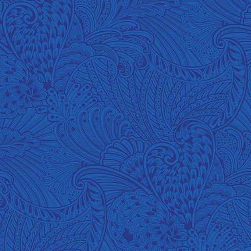 Peacock Flourish Opulence Tonal Dark Blue by Benartex