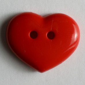 15 MM HOLED HEART RED