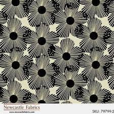 Black Stylized Flowers on Cream by Newcastle