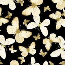 KANVAS NEW TRADITIONS WHITE BUTTERFLY ON BLACK