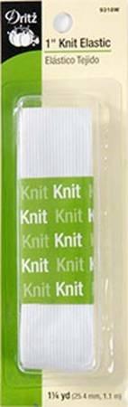 1 x 1.25 YD KNIT ELASTIC WHITE