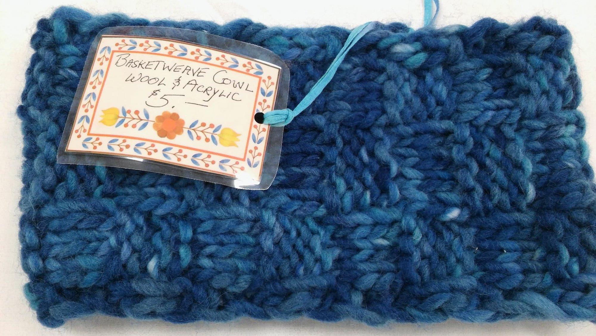 Basket Weave Cowl Blue