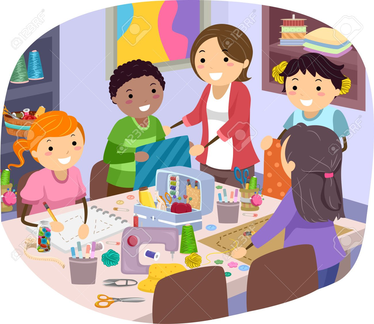 Image result for cartoon children sewing