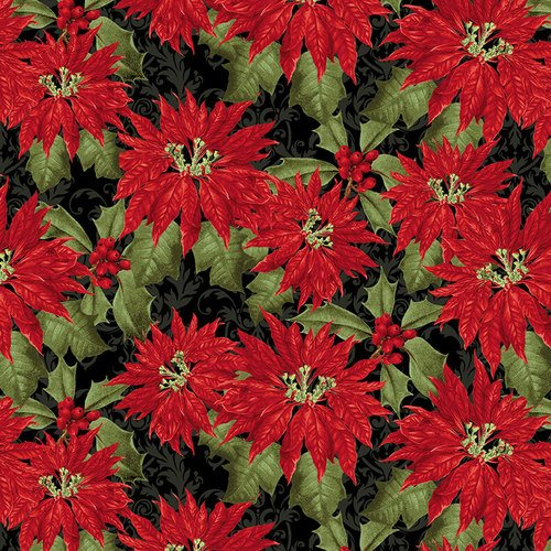 YULETIDE BOTANICA POINSETTIA BLACK by BLANK