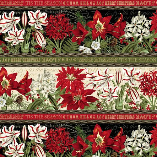 YULETIDE BOTANICA BORDER STRIPE by BLANK