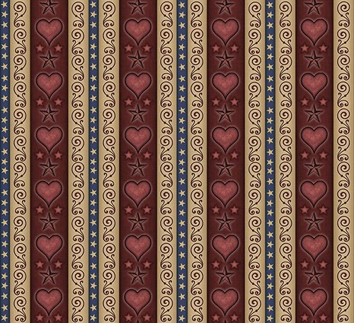 QT - For Love of Country - Wine Heart & Scroll Decorative Stripe
