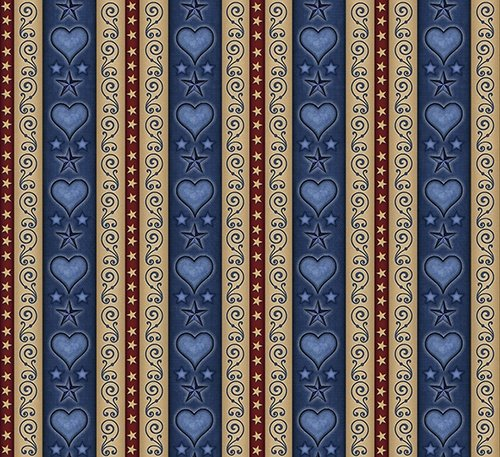 QT For Love of Country - Lt Navy Heart & Scroll  Decorative  Stripe