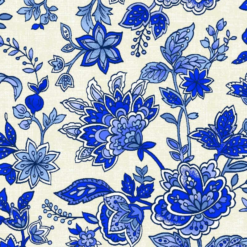 Peacocks in Blue - Jacobean Floral White