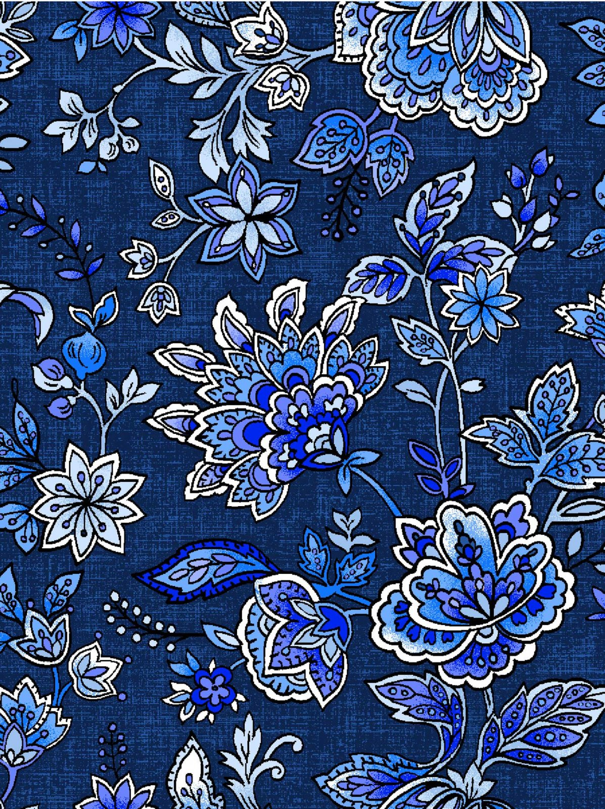 Peacocks in Blue - Jacobean Floral Dk Blue