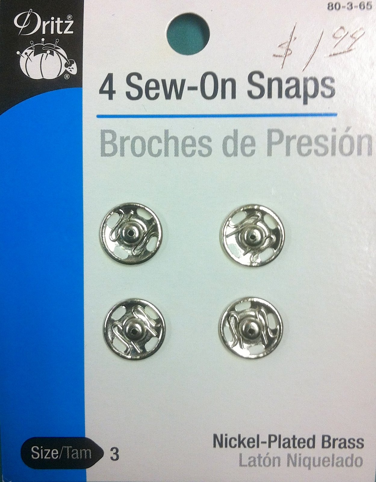 4 Sew-On Snaps Size 3