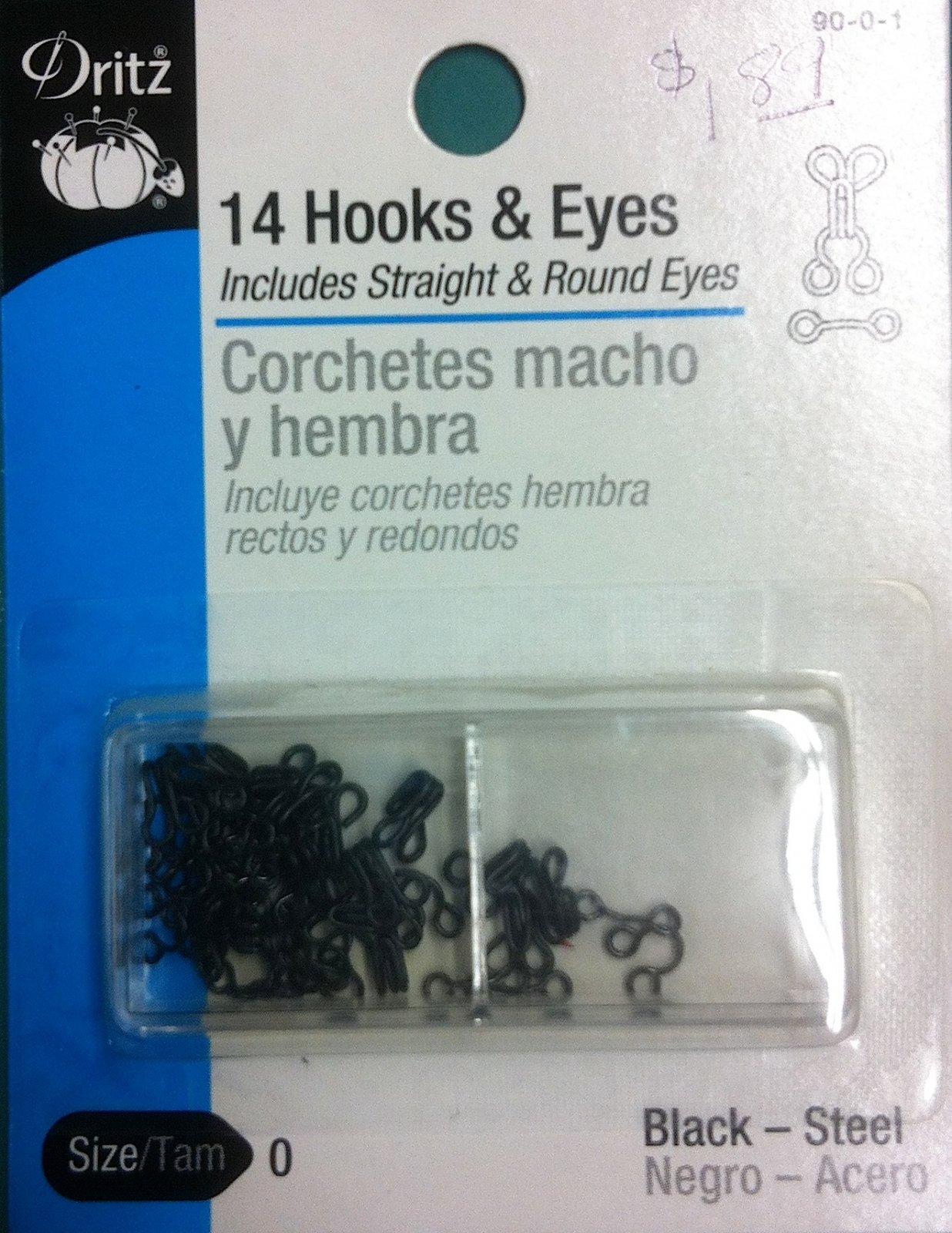 14 Hooks & Eyes Size 0