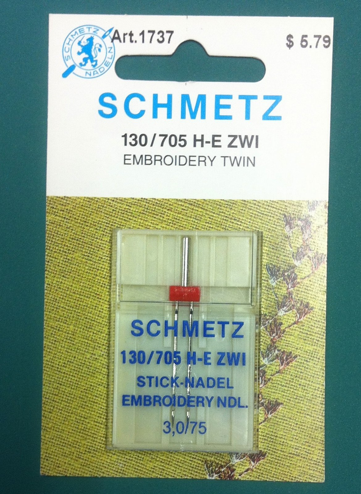 Schmetz Embroidery Twin Needle 3.0/75