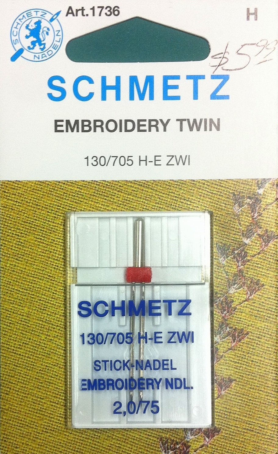 Schmetz Embroidery Twin Needle 2.0/75