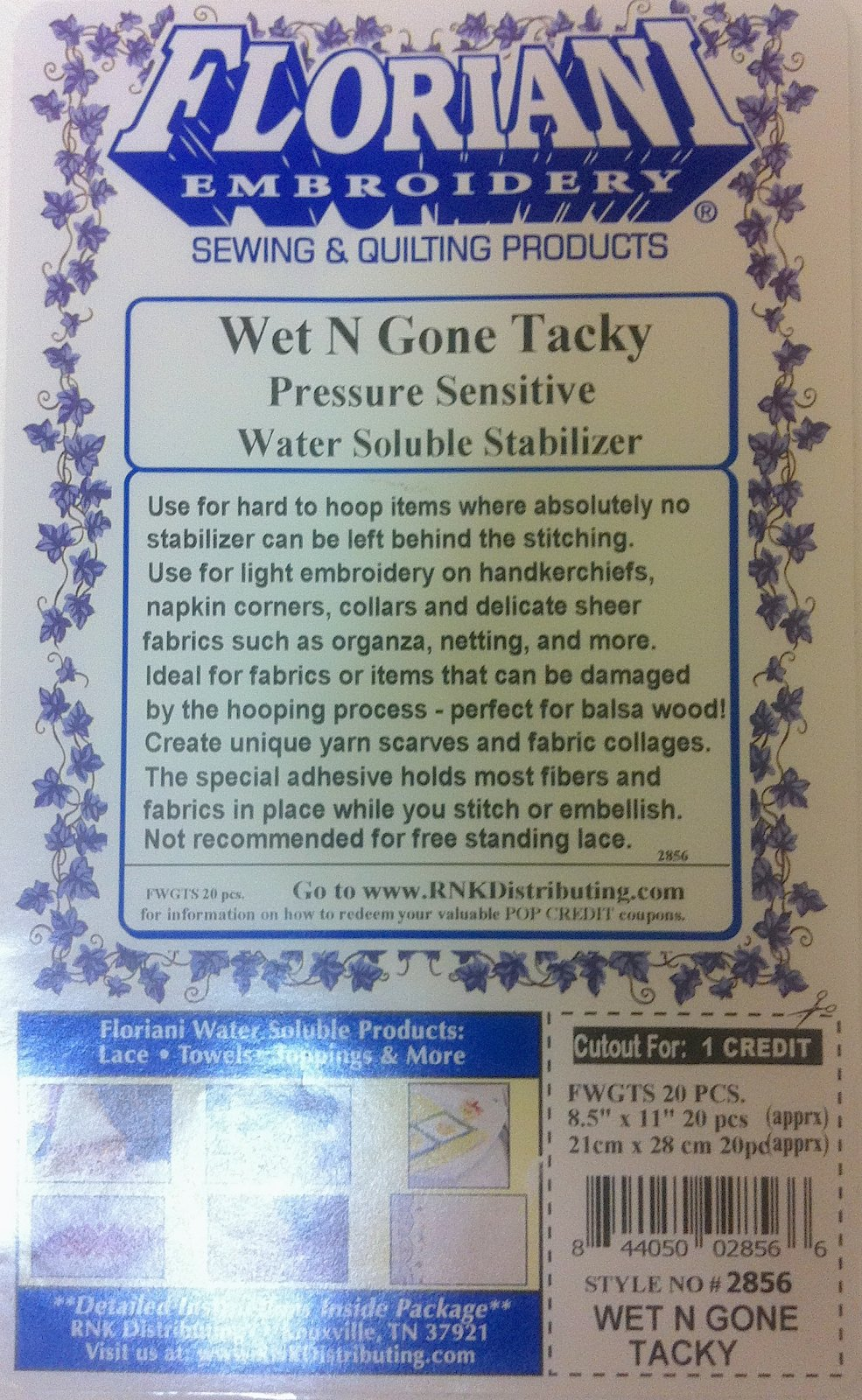Wet N Gone Tacky 8.5 X 11 Sheets 20 ct.