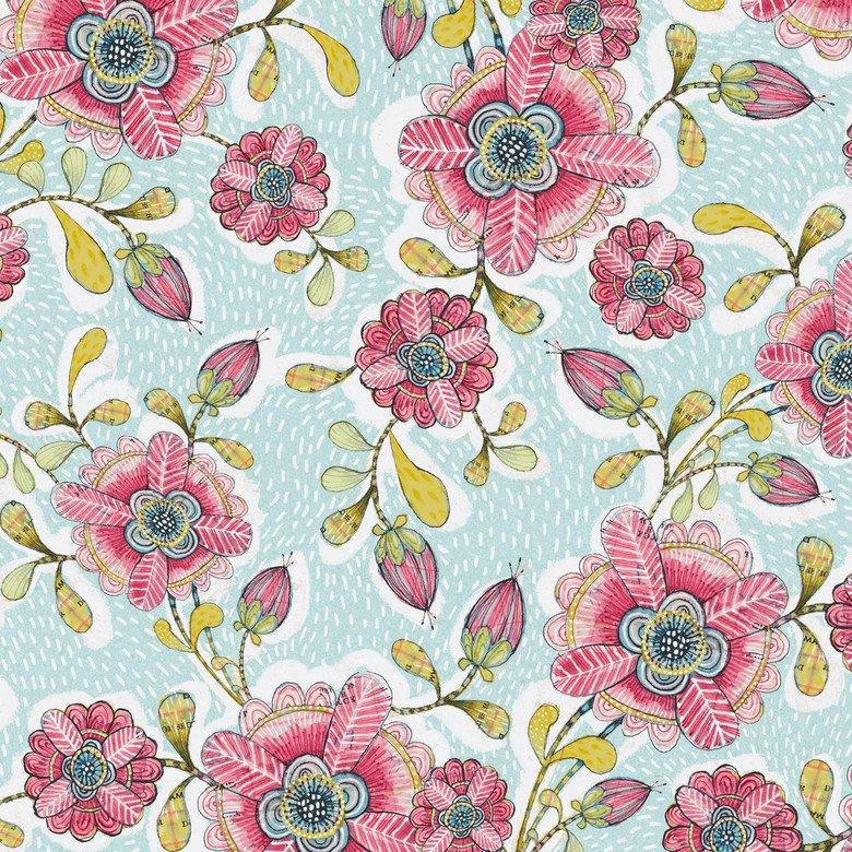Hello World...Good Day - Happy Blossoms Blue