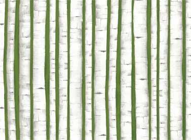 Green Birch Trees with Metallic