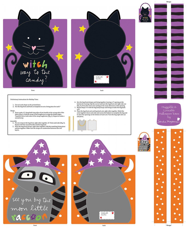 Huggable Loveable Books - Orange/Purple Halloween Treat Bags Book Panel