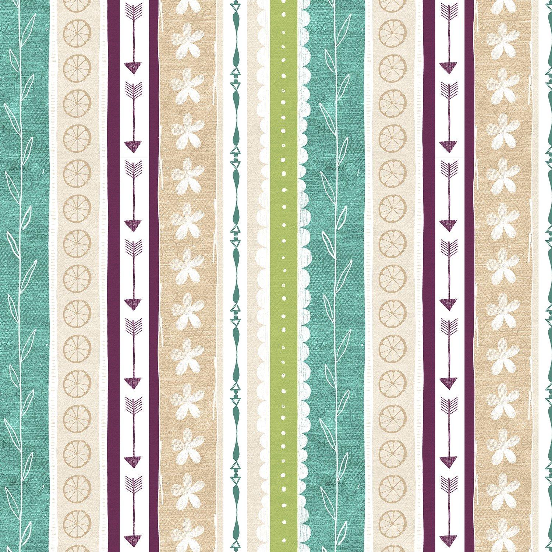 Plum/Teal Ticking Stripe