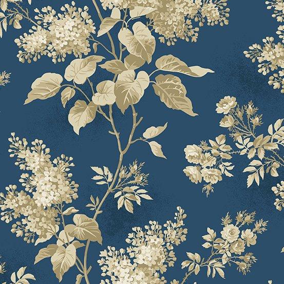 Blue Sky - Large Floral on Navy