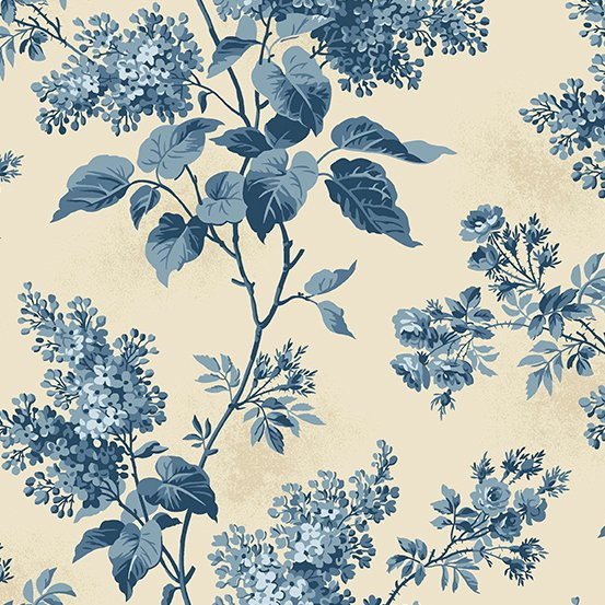 Large Blue Floral Print - Cream