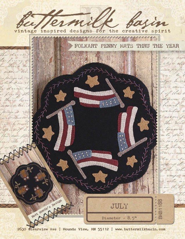 July Kit - Folk Art Penny Mats Through the Year