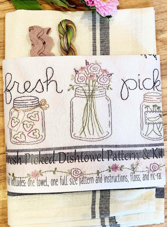 Fresh Picked Dishtowel Pattern and Floss Kit