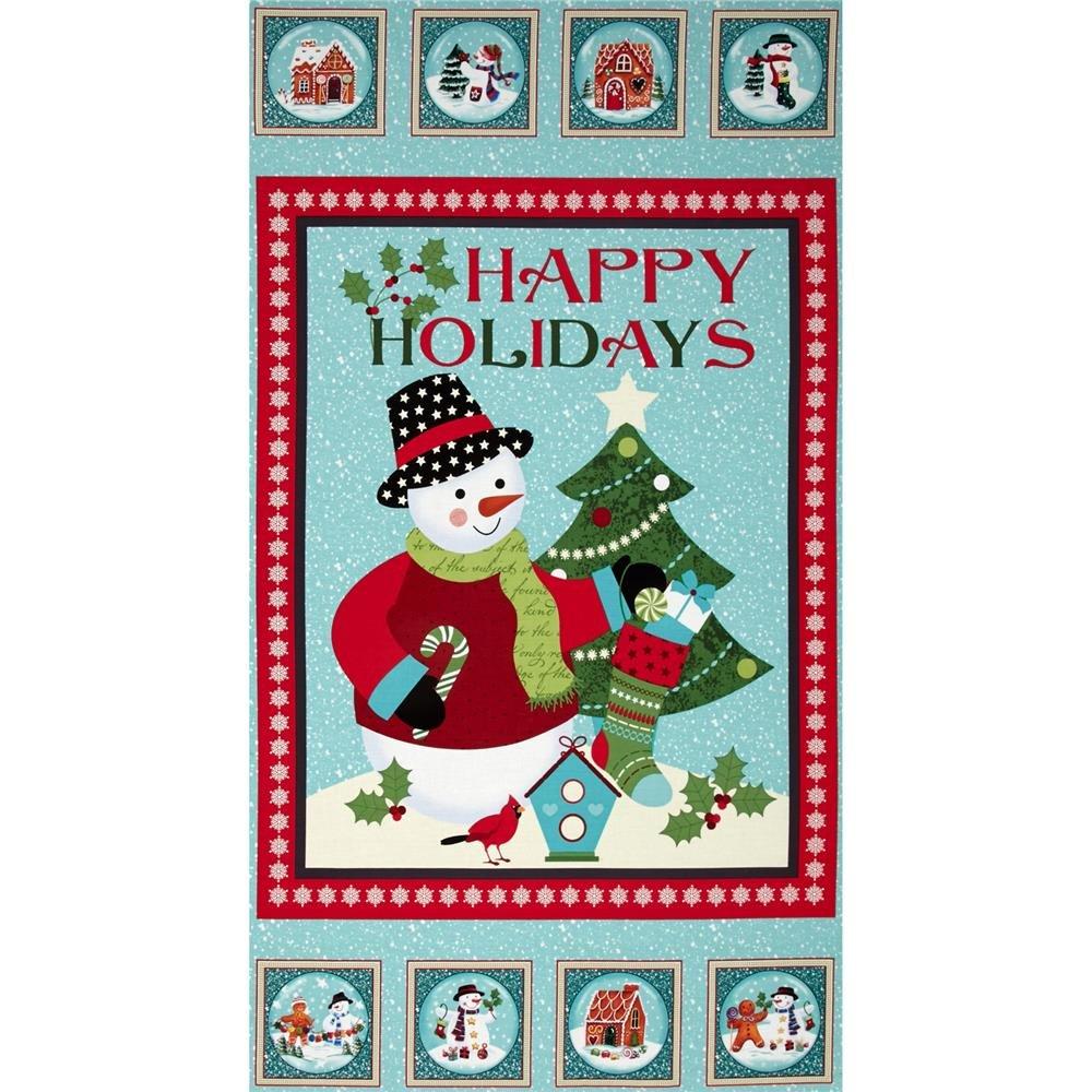 Happy Holidays Snowman Panel Large