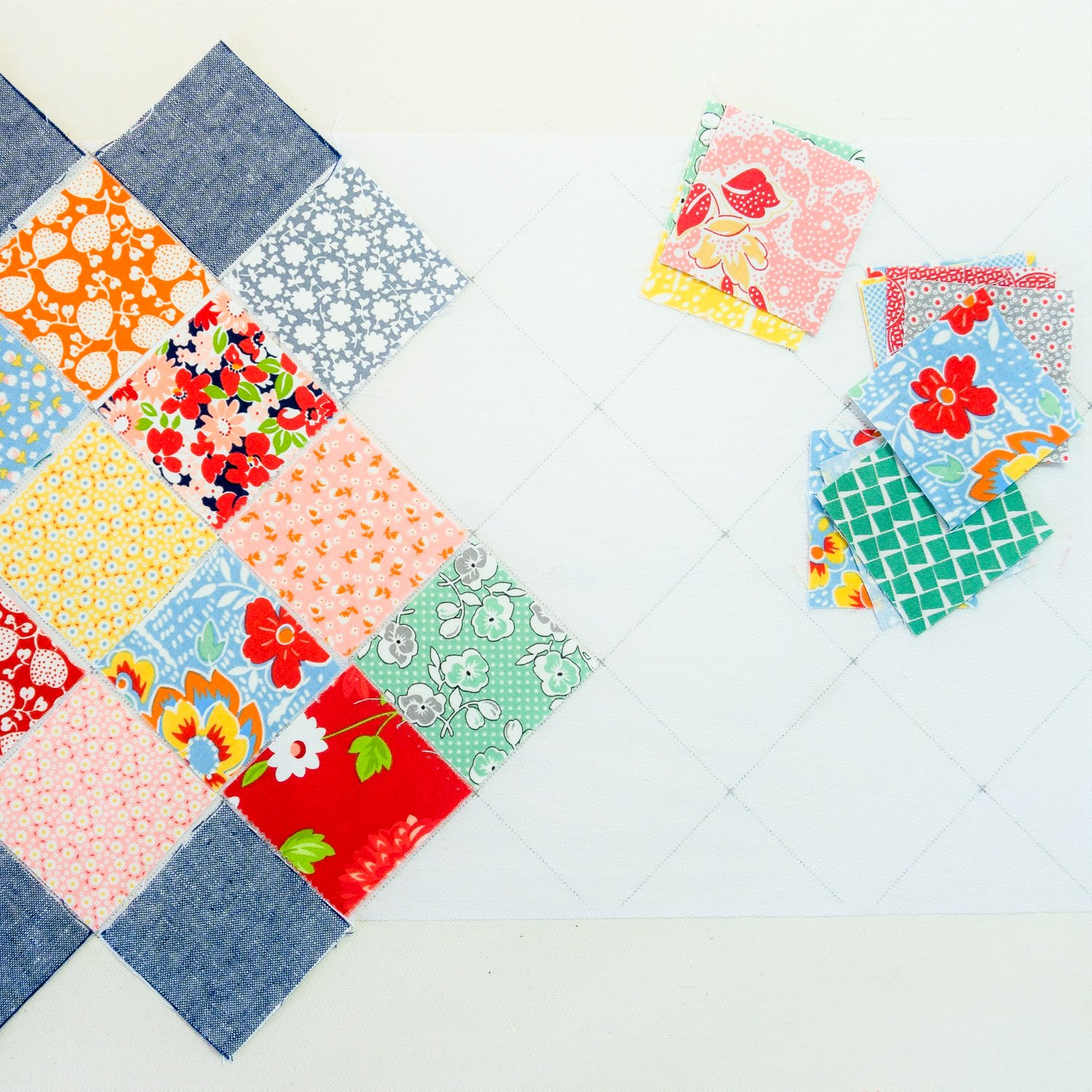 Easy Piecing Grid - 5 Panels - 1.5 Inch On-Point Border