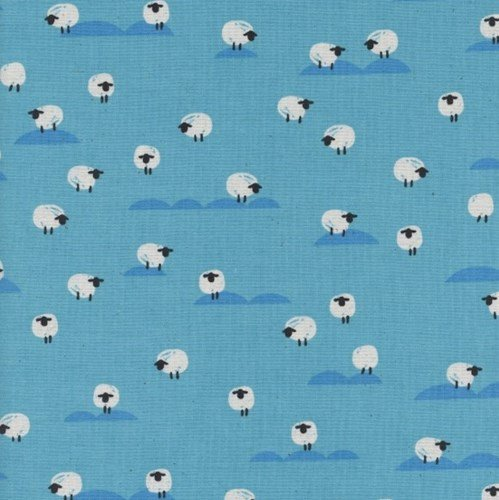 Panorama - Sheep in Water on Unbleached Cotton